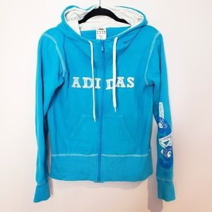 Adidas Full Zip Blue Hoodie Sweater Size: Small